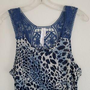 Cristinalove Blue & Cream Print & Crochet Dress L